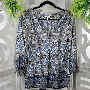 Joie 100% Silk Boho Semi-Sheer Top Size XS